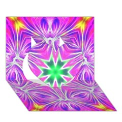 Kaleido Art, Pink Fractal Heart 3d Greeting Card (7x5)
