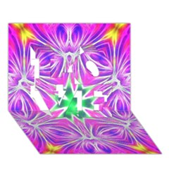 Kaleido Art, Pink Fractal Love 3d Greeting Card (7x5)