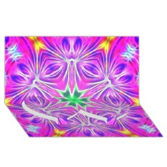 Kaleido Art, Pink Fractal Twin Heart Bottom 3D Greeting Card (8x4)