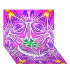 Kaleido Art, Pink Fractal Circle Bottom 3D Greeting Card (7x5)