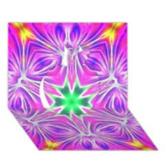 Kaleido Art, Pink Fractal Apple 3D Greeting Card (7x5)
