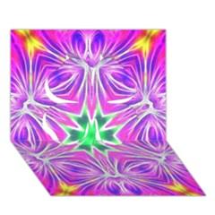 Kaleido Art, Pink Fractal Clover 3D Greeting Card (7x5)