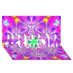 Kaleido Art, Pink Fractal #1 MOM 3D Greeting Cards (8x4)
