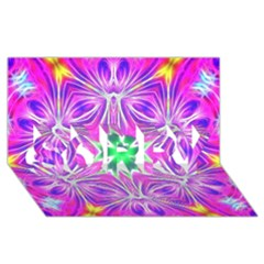 Kaleido Art, Pink Fractal Sorry 3d Greeting Card (8x4)