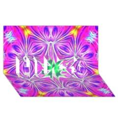 Kaleido Art, Pink Fractal HUGS 3D Greeting Card (8x4)