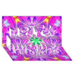 Kaleido Art, Pink Fractal Best Wish 3d Greeting Card (8x4)