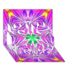 Kaleido Art, Pink Fractal You Rock 3d Greeting Card (7x5)