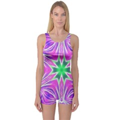 Kaleido Art, Pink Fractal Women s Boyleg One Piece Swimsuits