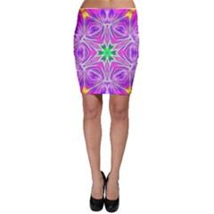 Kaleido Art, Pink Fractal Bodycon Skirts