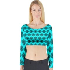 Abstract Knot Geometric Tile Pattern Long Sleeve Crop Top