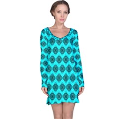 Abstract Knot Geometric Tile Pattern Long Sleeve Nightdresses