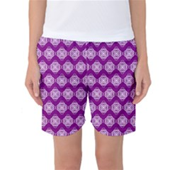 Abstract Knot Geometric Tile Pattern Women s Basketball Shorts