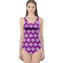 Abstract Knot Geometric Tile Pattern Women s One Piece Swimsuits