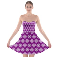Abstract Knot Geometric Tile Pattern Strapless Bra Top Dress