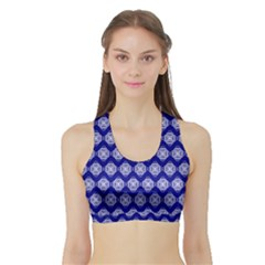 Abstract Knot Geometric Tile Pattern Women s Sports Bra with Border