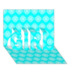 Abstract Knot Geometric Tile Pattern GIRL 3D Greeting Card (7x5)