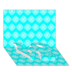 Abstract Knot Geometric Tile Pattern LOVE Bottom 3D Greeting Card (7x5)