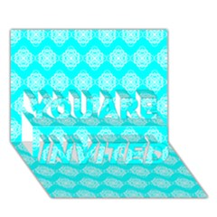 Abstract Knot Geometric Tile Pattern You Are Invited 3d Greeting Card (7x5)