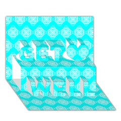 Abstract Knot Geometric Tile Pattern Get Well 3d Greeting Card (7x5)