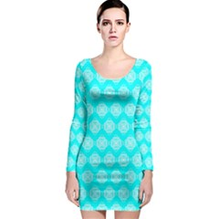 Abstract Knot Geometric Tile Pattern Long Sleeve Bodycon Dresses
