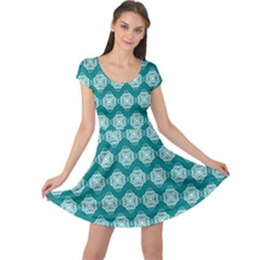 Abstract Knot Geometric Tile Pattern Cap Sleeve Dresses