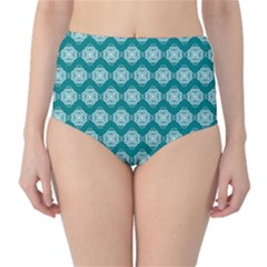 Abstract Knot Geometric Tile Pattern High-Waist Bikini Bottoms