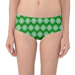 Abstract Knot Geometric Tile Pattern Mid-Waist Bikini Bottoms