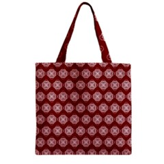 Abstract Knot Geometric Tile Pattern Zipper Grocery Tote Bags