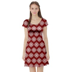 Abstract Knot Geometric Tile Pattern Short Sleeve Skater Dresses