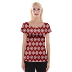 Abstract Knot Geometric Tile Pattern Women s Cap Sleeve Top