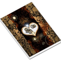 Steampunk, Awesome Heart With Clocks And Gears Large Memo Pads
