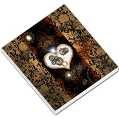 Steampunk, Awesome Heart With Clocks And Gears Small Memo Pads