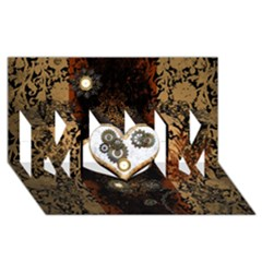 Steampunk, Awesome Heart With Clocks And Gears MOM 3D Greeting Card (8x4)