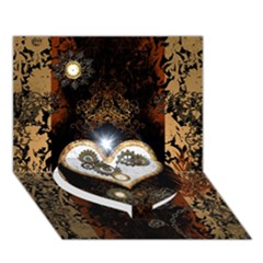 Steampunk, Awesome Heart With Clocks And Gears Heart Bottom 3d Greeting Card (7x5)