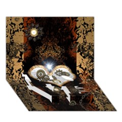 Steampunk, Awesome Heart With Clocks And Gears LOVE Bottom 3D Greeting Card (7x5)
