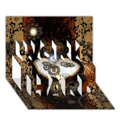 Steampunk, Awesome Heart With Clocks And Gears Work Hard 3d Greeting Card (7x5)