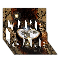 Steampunk, Awesome Heart With Clocks And Gears TAKE CARE 3D Greeting Card (7x5)