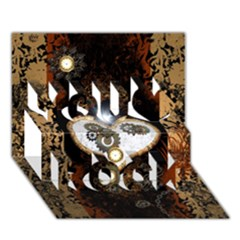 Steampunk, Awesome Heart With Clocks And Gears You Rock 3d Greeting Card (7x5)