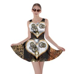 Steampunk, Awesome Heart With Clocks And Gears Skater Dresses