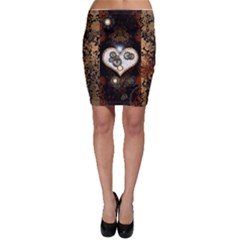 Steampunk, Awesome Heart With Clocks And Gears Bodycon Skirts