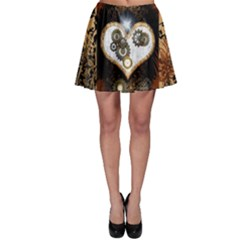 Steampunk, Awesome Heart With Clocks And Gears Skater Skirts