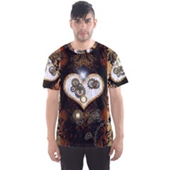 Steampunk, Awesome Heart With Clocks And Gears Men s Sport Mesh Tees
