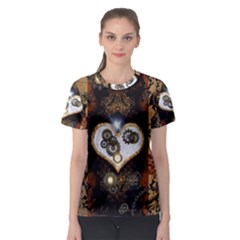 Steampunk, Awesome Heart With Clocks And Gears Women s Sport Mesh Tees