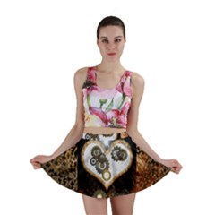 Steampunk, Awesome Heart With Clocks And Gears Mini Skirts