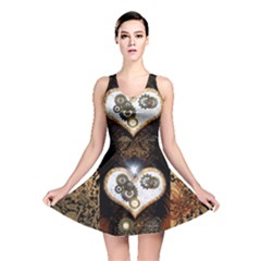 Steampunk, Awesome Heart With Clocks And Gears Reversible Skater Dresses
