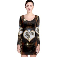 Steampunk, Awesome Heart With Clocks And Gears Long Sleeve Bodycon Dresses