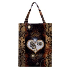 Steampunk, Awesome Heart With Clocks And Gears Classic Tote Bags