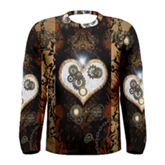 Steampunk, Awesome Heart With Clocks And Gears Men s Long Sleeve T-shirts