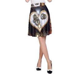 Steampunk, Awesome Heart With Clocks And Gears A-Line Skirts