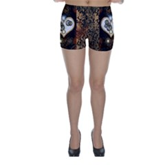 Steampunk, Awesome Heart With Clocks And Gears Skinny Shorts